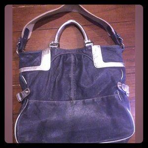 TRACY REESE Denim Blue & Silver Leather Handbag